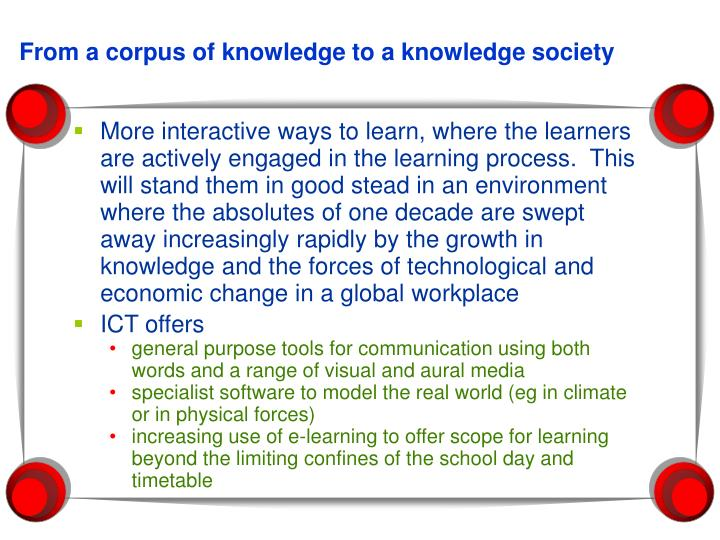 From a corpus of knowledge to a knowledge society