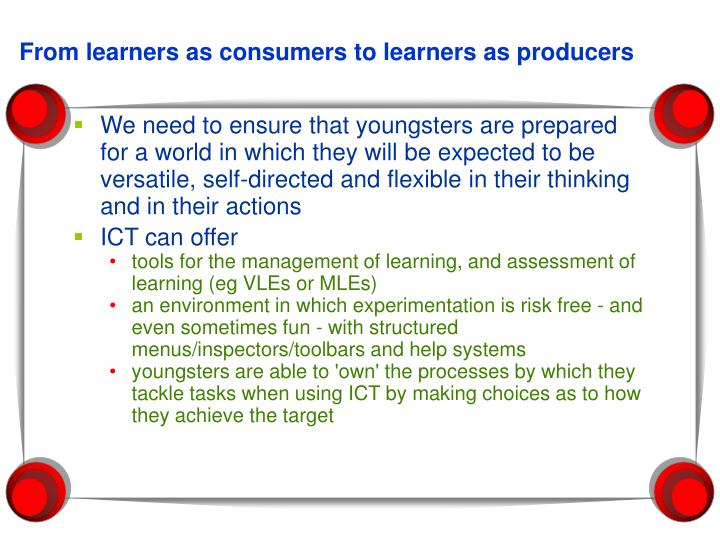 From learners as consumers to learners as producers