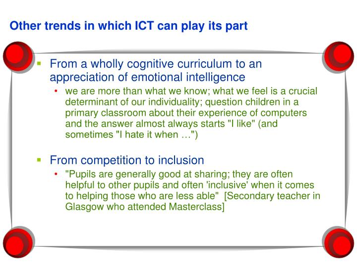Other trends in which ICT can play its part