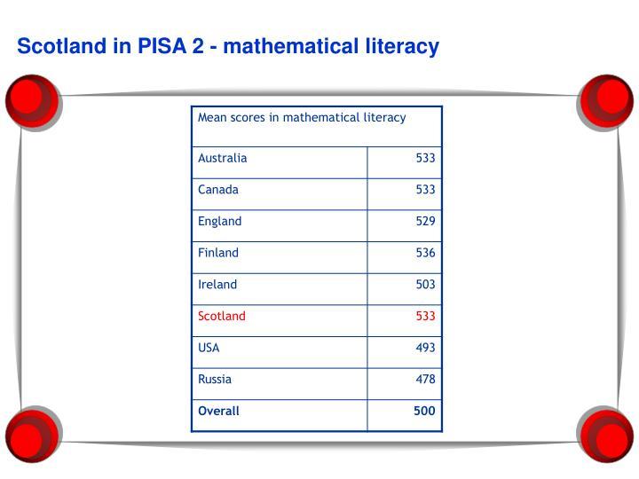 Scotland in pisa 2 mathematical literacy