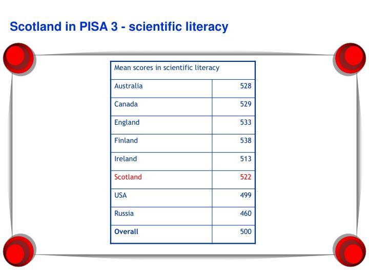 Scotland in PISA 3 - scientific literacy