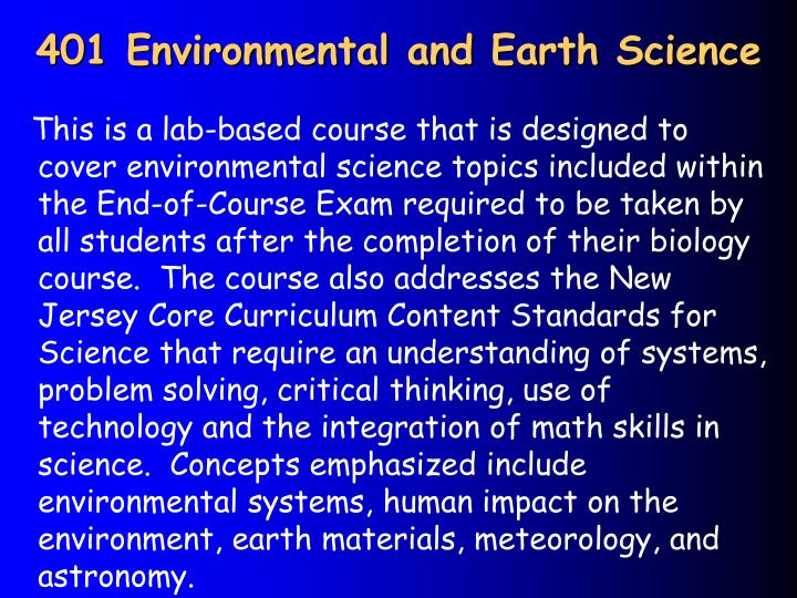401 Environmental and Earth Science