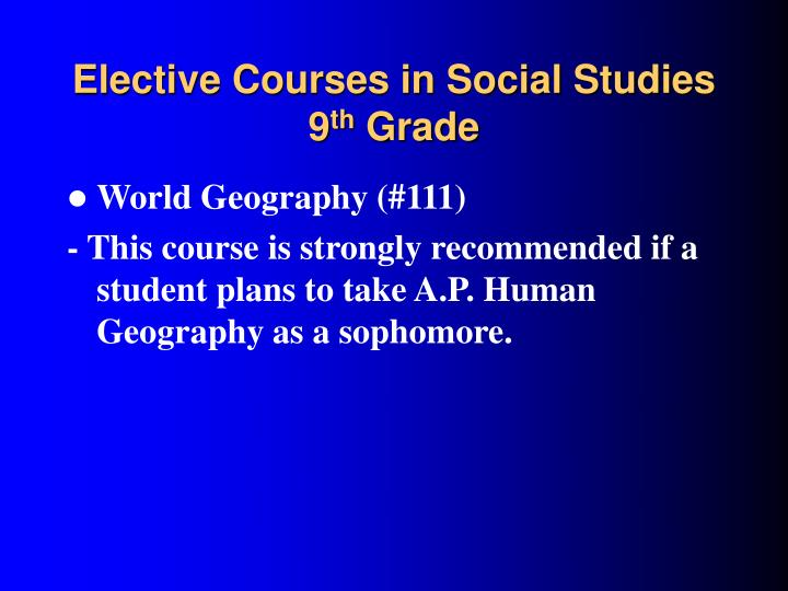 Elective Courses in Social Studies