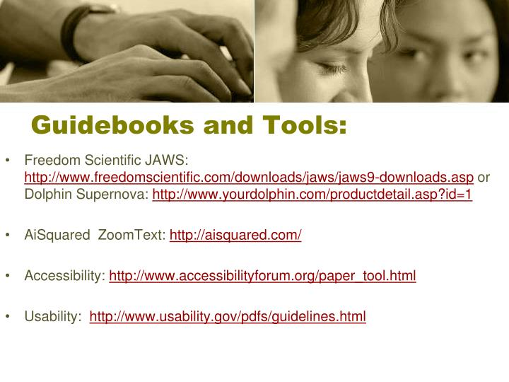 Guidebooks and Tools: