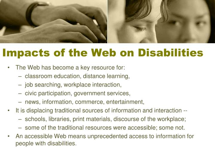 Impacts of the Web on Disabilities