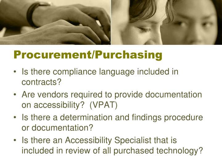Procurement/Purchasing