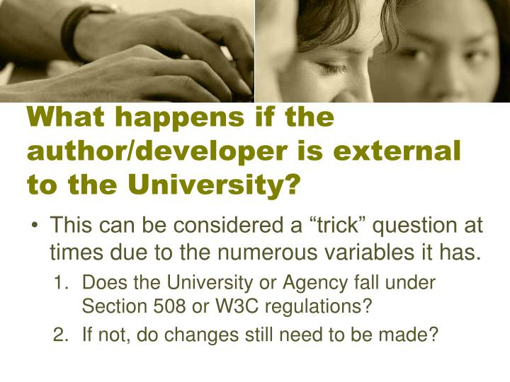 What happens if the author/developer is external to the University?