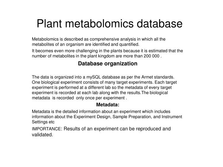 plant metabolomics database n.