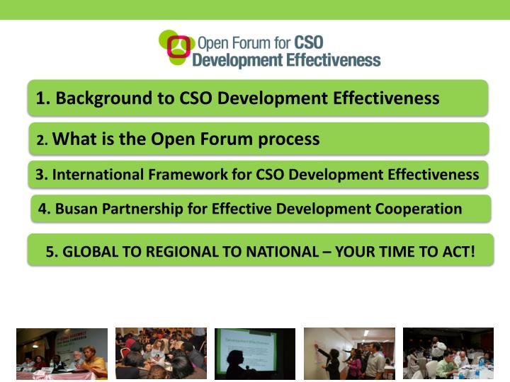 1. Background to CSO Development Effectiveness