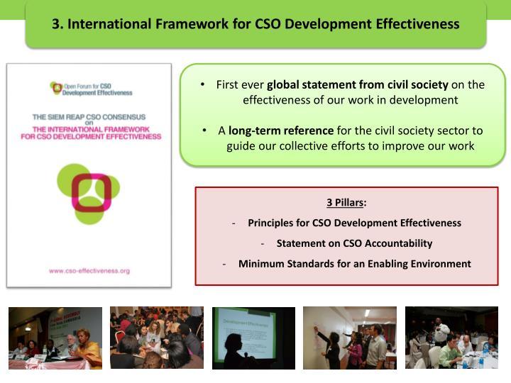 3. International Framework for CSO Development Effectiveness