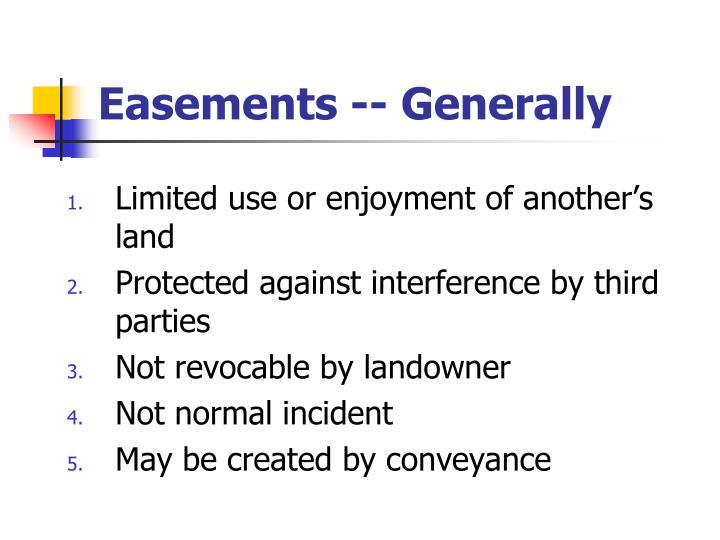 Easements -- Generally