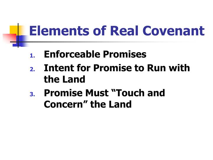 Elements of Real Covenant