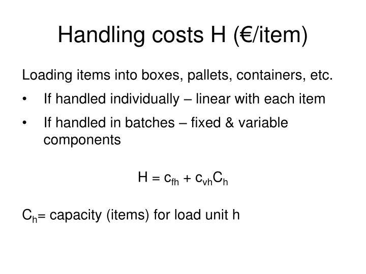 Handling costs H (€/item)