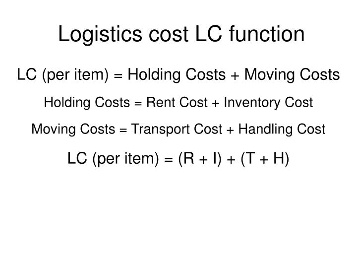 Logistics cost LC function