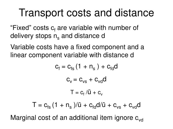Transport costs and distance