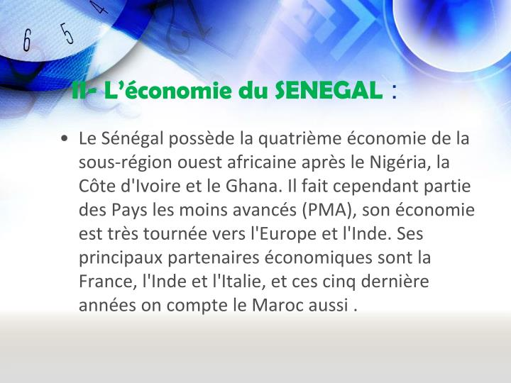 II- L'économie du SENEGAL