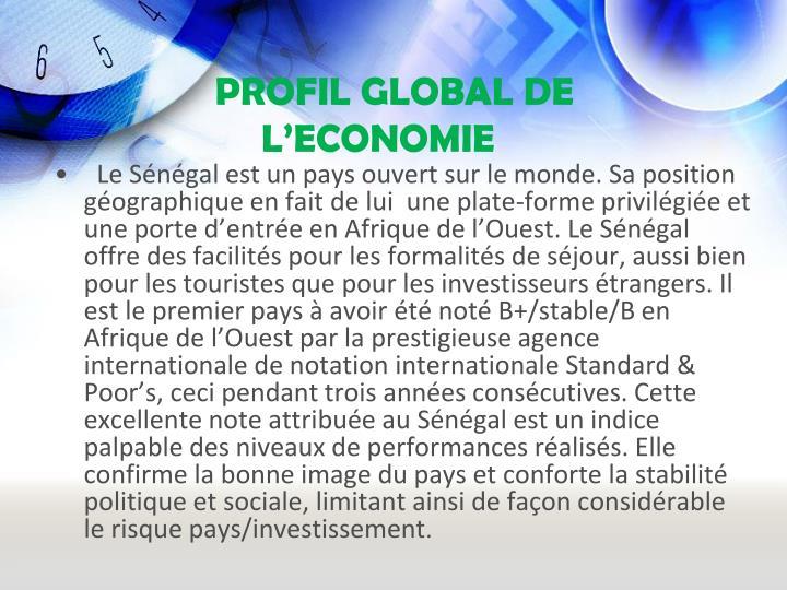 PROFIL GLOBAL DE L'ECONOMIE