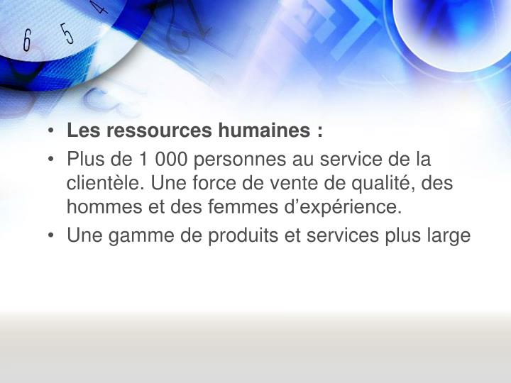 Les ressources humaines: