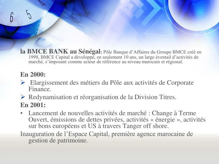 la BMCE BANK au Sénégal