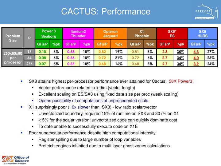 CACTUS: Performance