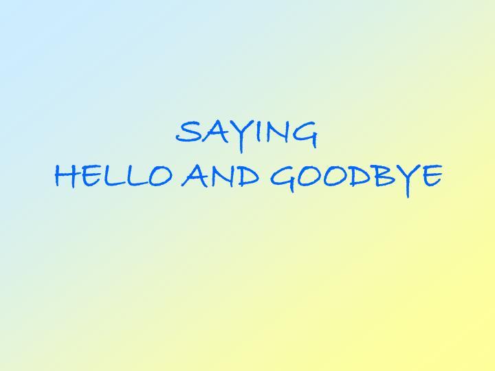 saying hello and goodbye n.