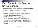 ex1 simulation in excel for dave s candies