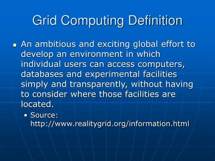 Grid Computing Definition