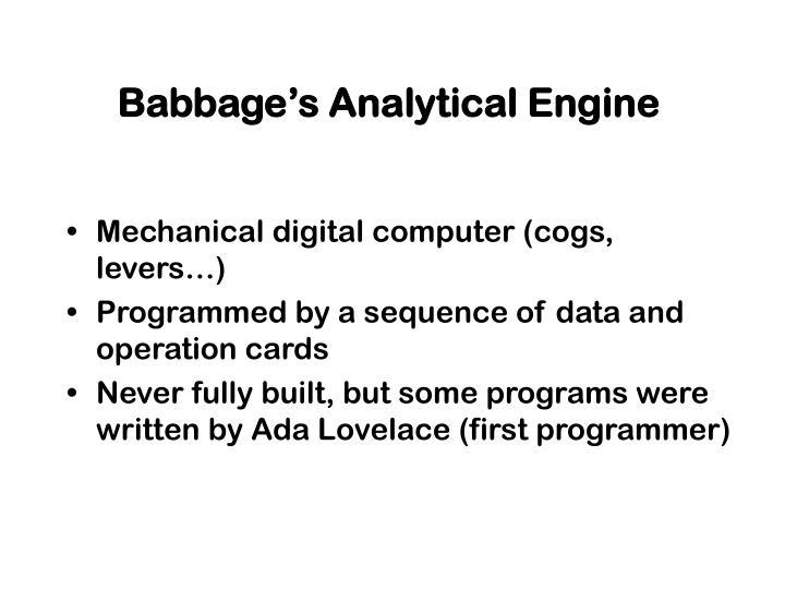 Babbage's Analytical Engine