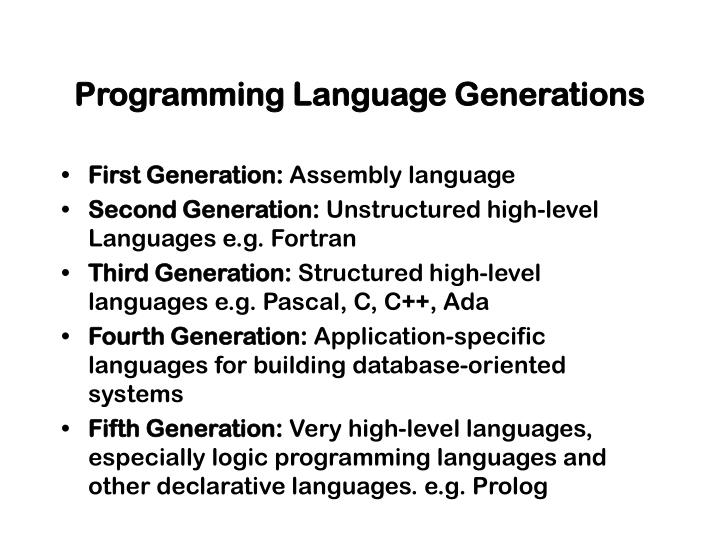 Programming Language Generations