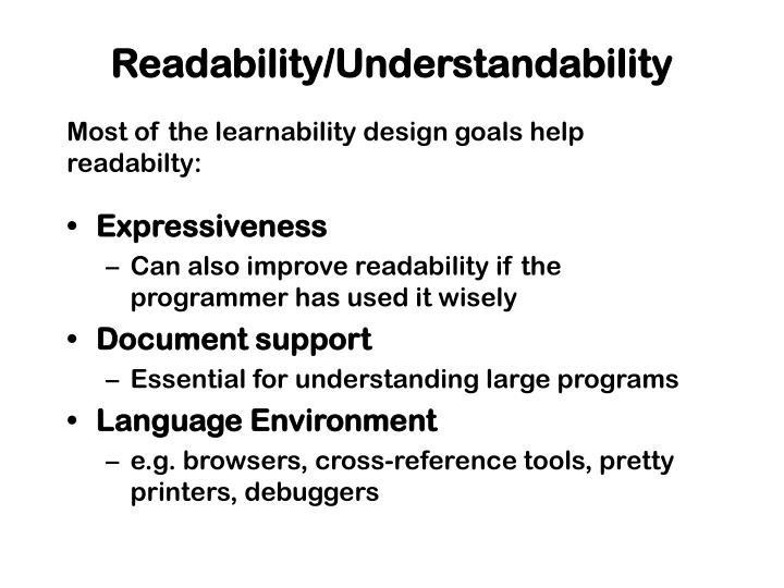 Readability/Understandability