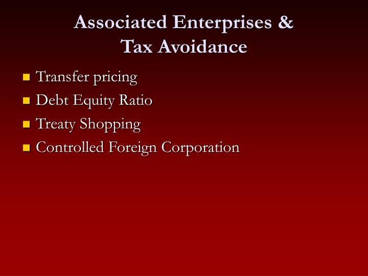 Associated enterprises tax avoidance