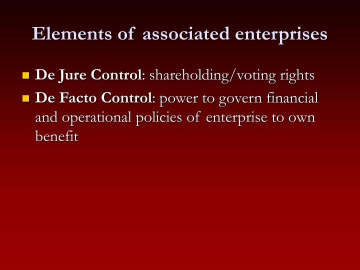 Elements of associated enterprises