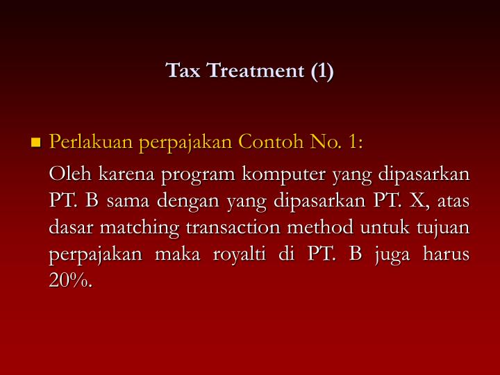 Tax Treatment (1)