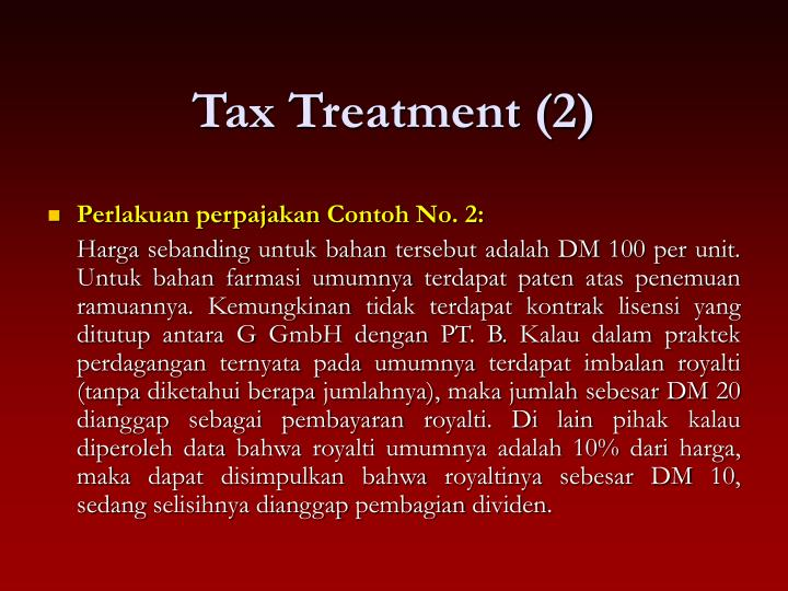 Tax Treatment (2)