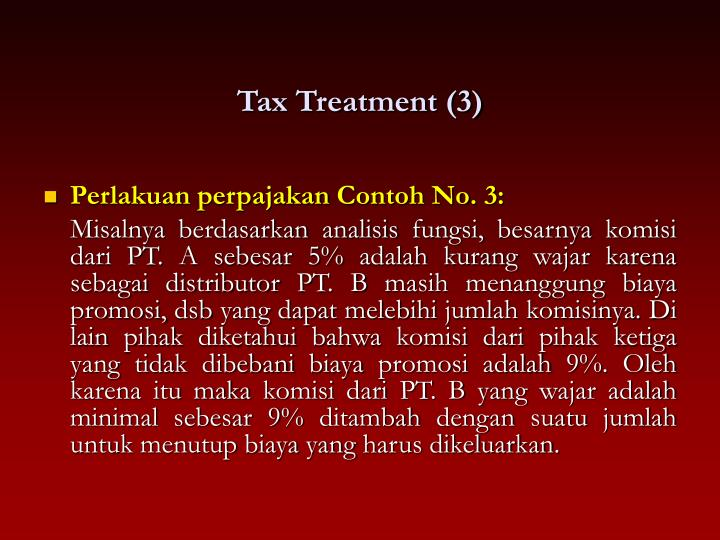 Tax Treatment (3)