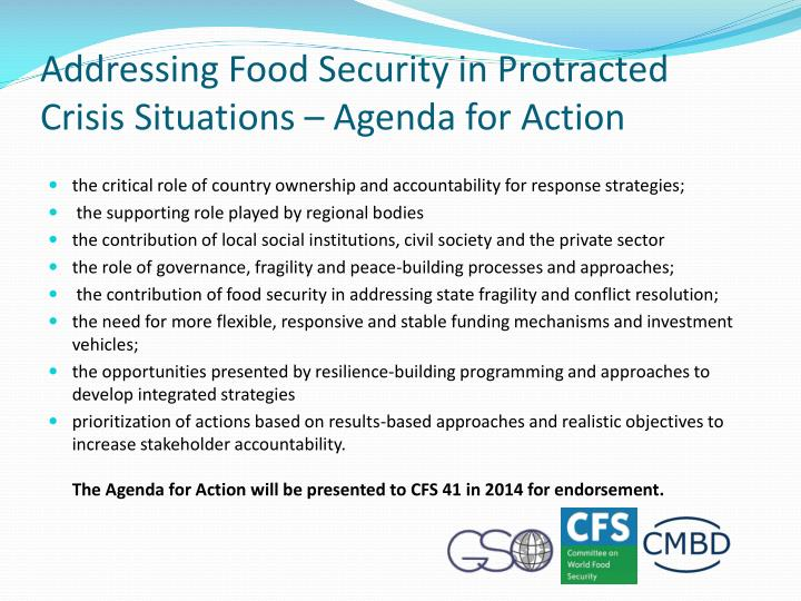 Addressing Food Security in Protracted Crisis Situations – Agenda for Action