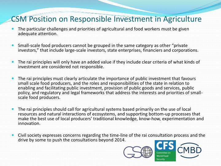 CSM Position on Responsible Investment in Agriculture
