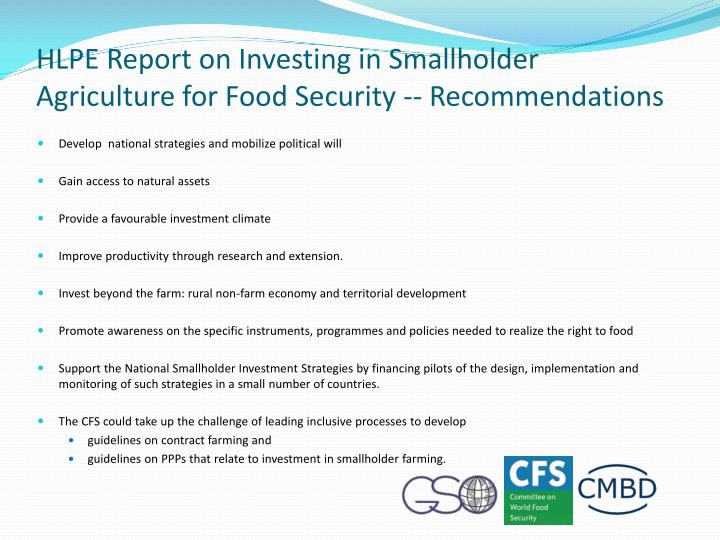 HLPE Report on Investing in Smallholder Agriculture for Food Security -- Recommendations