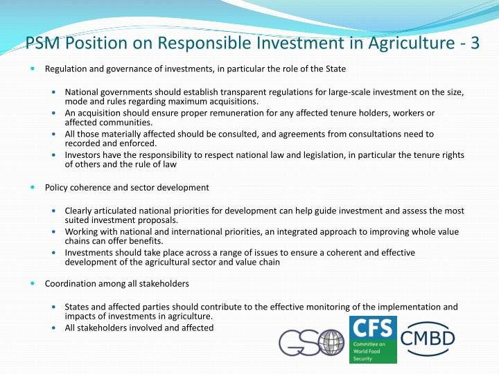 PSM Position on Responsible Investment in Agriculture - 3