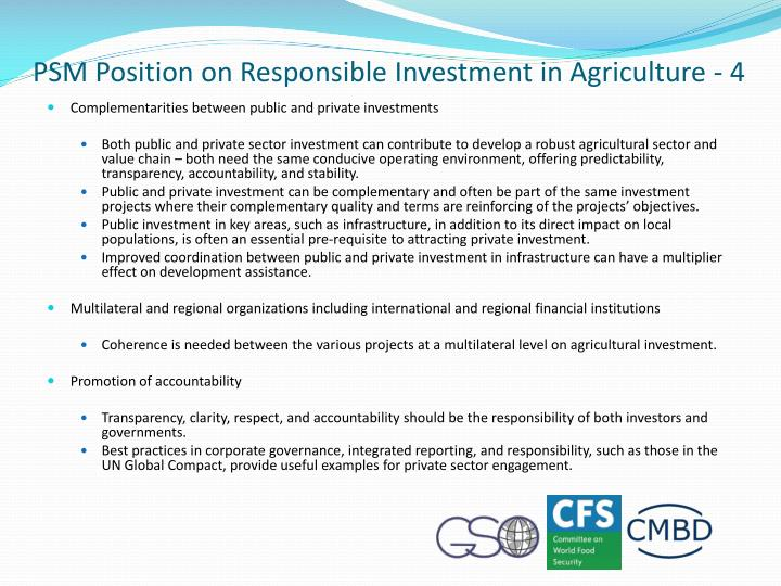 PSM Position on Responsible Investment in Agriculture - 4