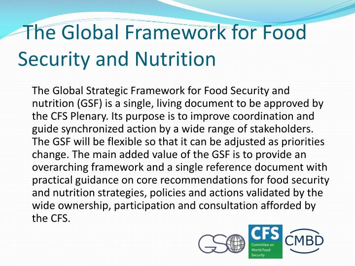 The Global Framework for Food Security and Nutrition