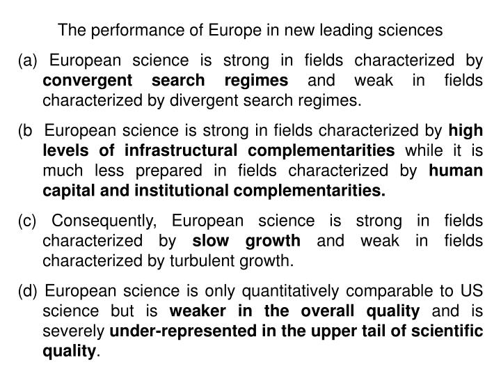 The performance of Europe in new leading sciences