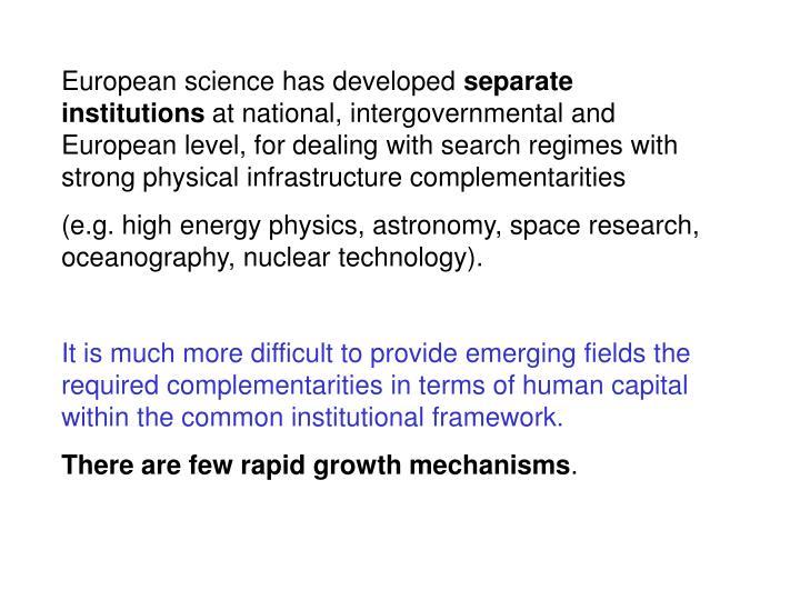 European science has developed