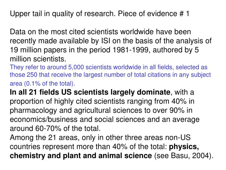 Upper tail in quality of research. Piece of evidence