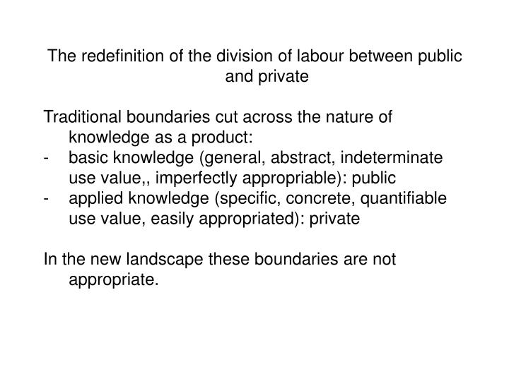 The redefinition of the division of labour between public and private