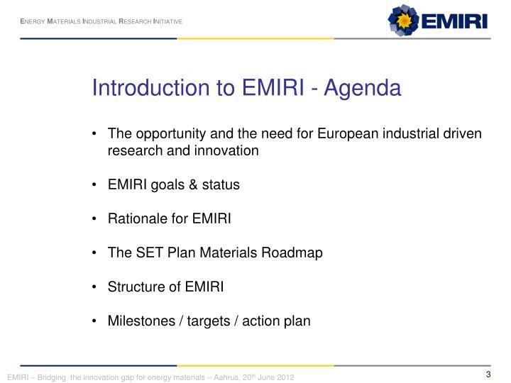 Introduction to EMIRI - Agenda
