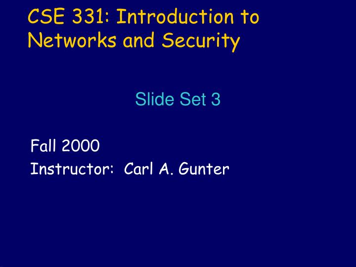 Cse 331 introduction to networks and security