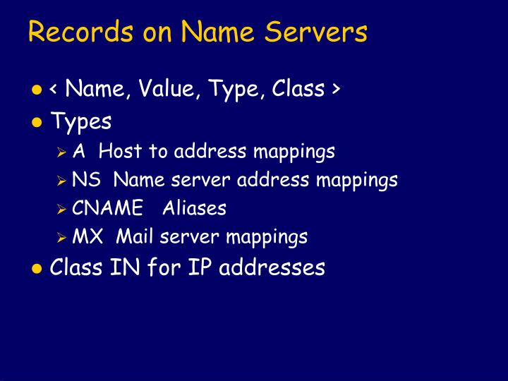 Records on Name Servers