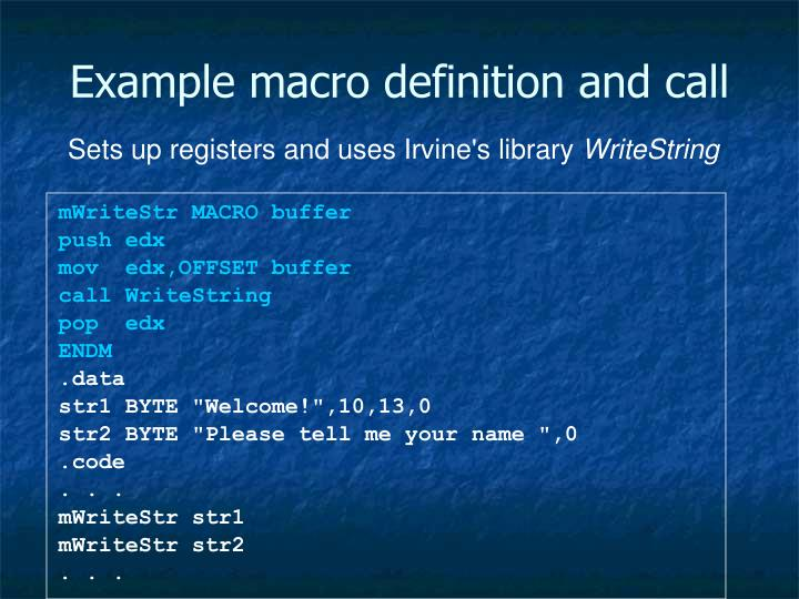 Example macro definition and call