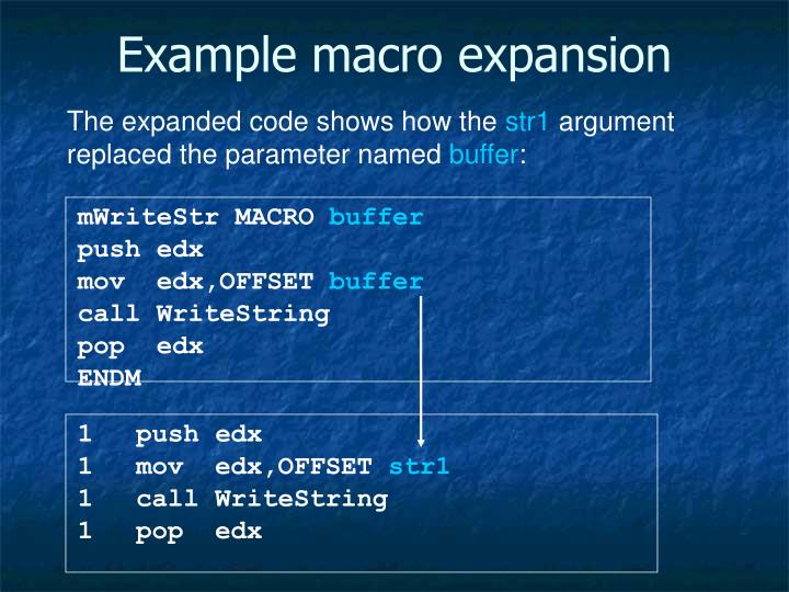 Example macro expansion